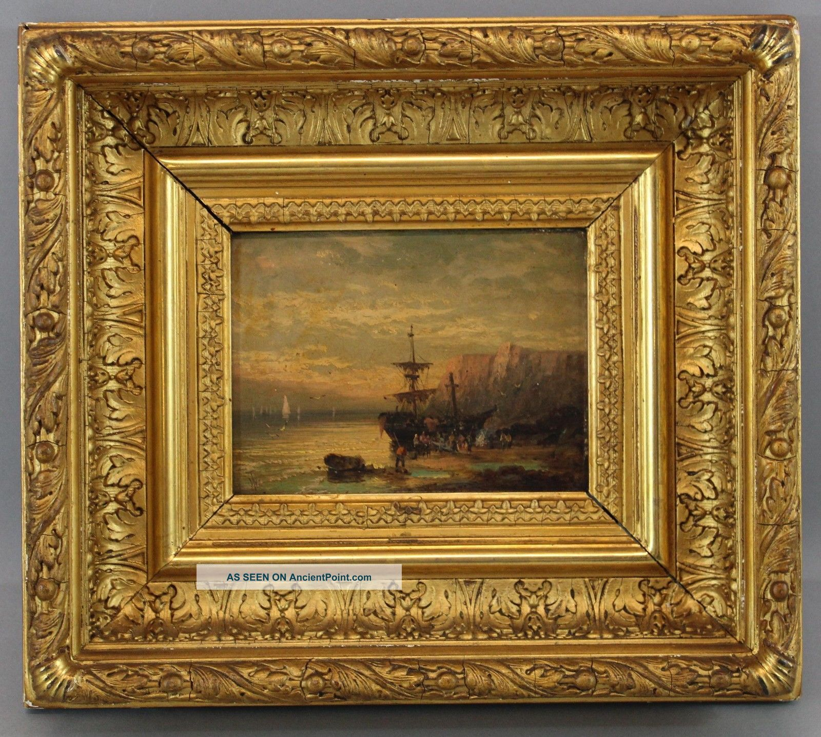 Antique 19thc British Seascape Oil Painting Early Ship,  White Cliffs Of Dover Nr Folk Art photo