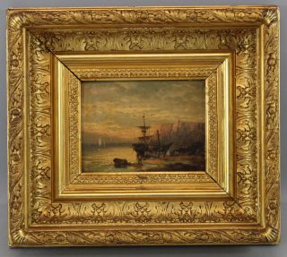 Antique 19thc British Seascape Oil Painting Early Ship,  White Cliffs Of Dover Nr photo