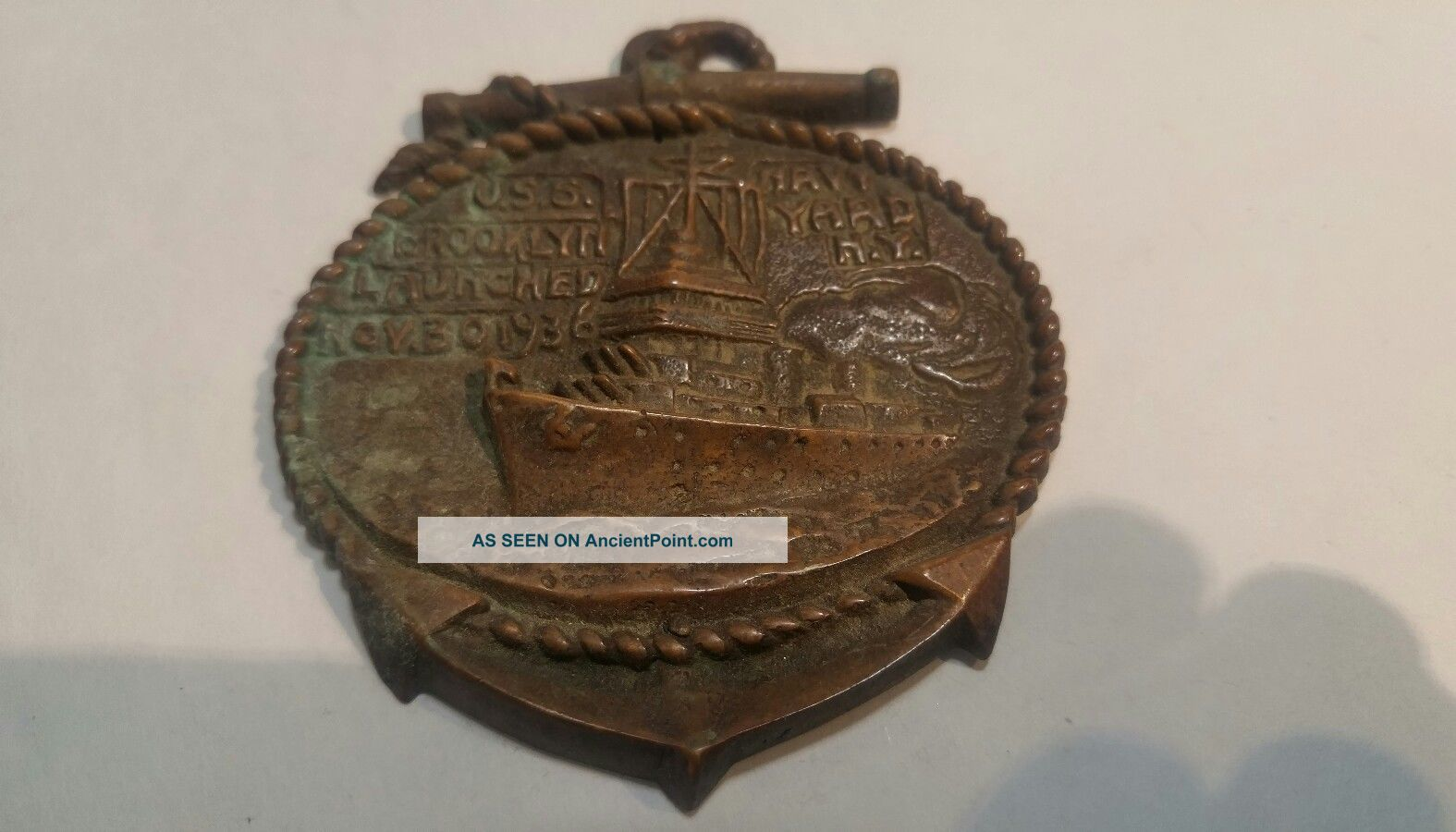 Vintage 1939 Navy Yard Plaque Of U.  S.  S Brooklyn Other Maritime Antiques photo