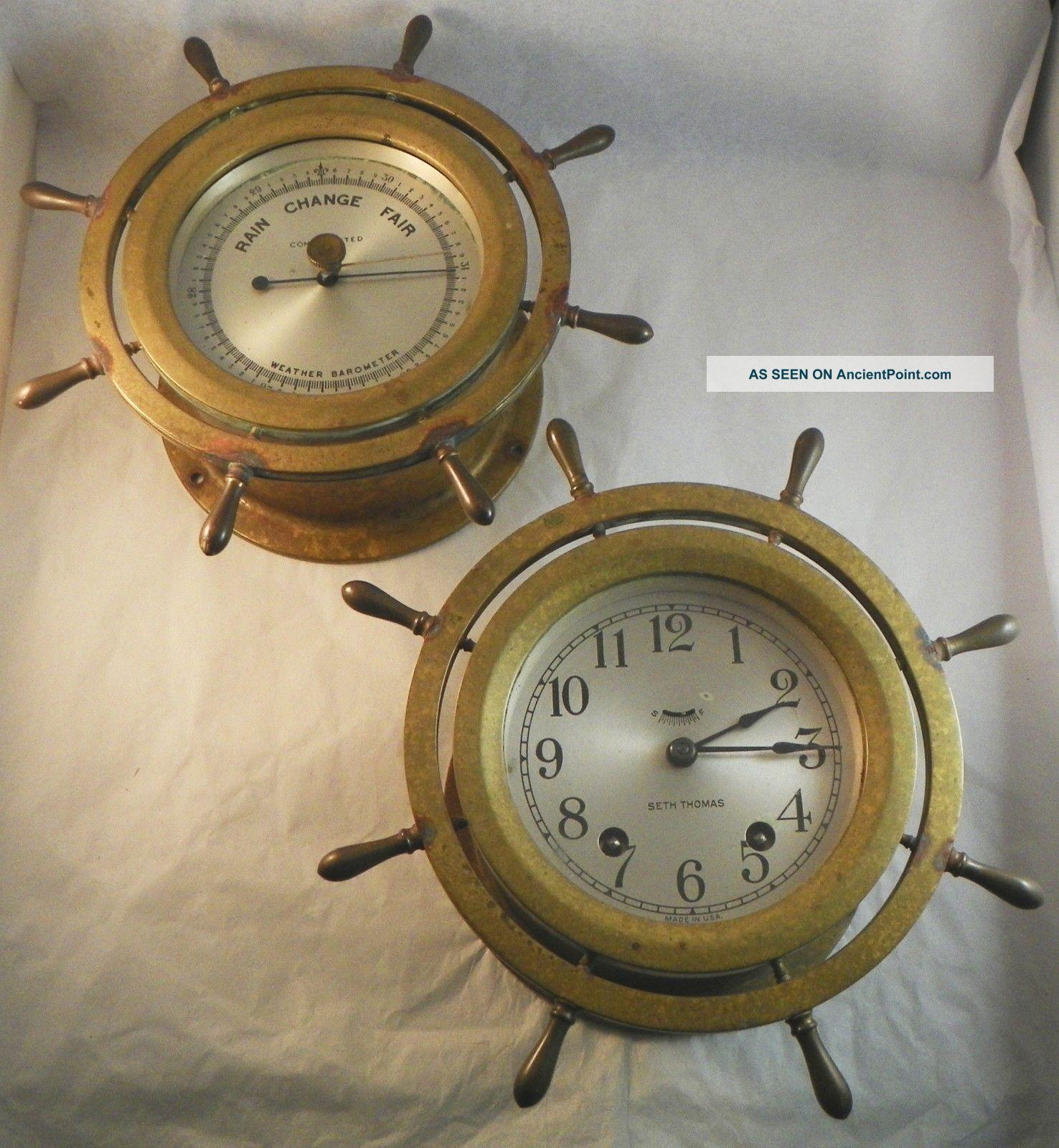 Seth Thomas Ship ' S Clock And Barometer.  Mayflower 3. Clocks photo