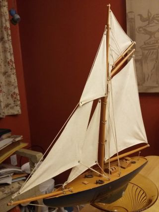 Antique Wood Boat Model Yacht Sailboat Ship Brass Rigging Canvas Sails 21