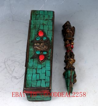 Ancient Chinese Buddhist &brass Inlaid Turquoise Dorje Phurpa Vajra Statueqw0254 photo