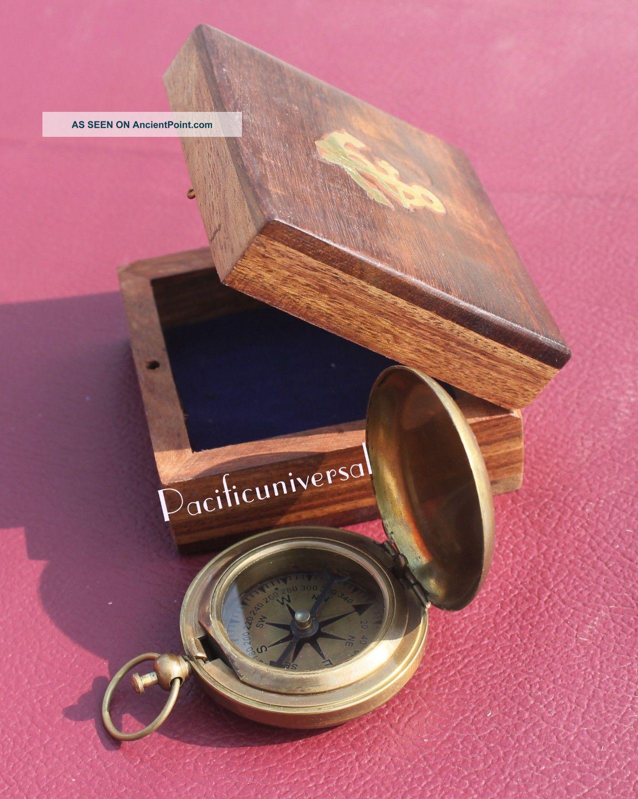 Brown Antique Vintage Maritime Push Button Compass 2