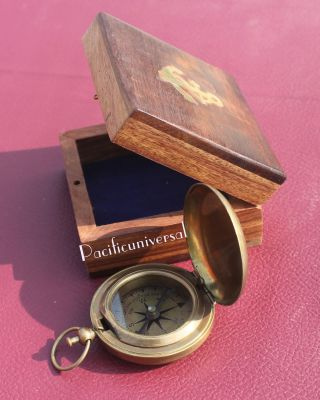 Brown Antique Vintage Maritime Push Button Compass 2