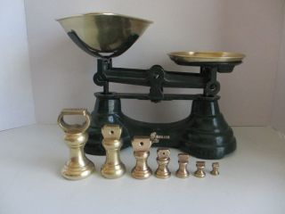 Librasco Balance Scale With 7 Brass Bell Weights photo