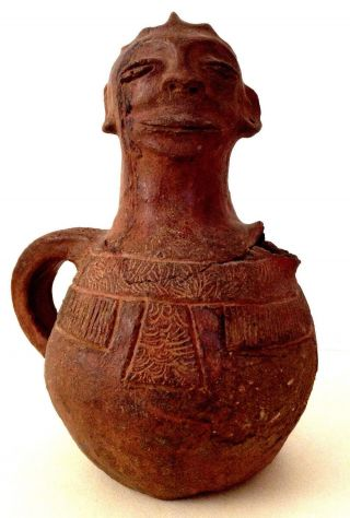 Antique 19th Century African Pottery Figural Head Face Jug Pitcher Luba Zaire photo