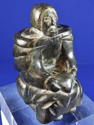 Vintage Inuit Art Eskimo Soapstone Carving Artist Signed Sculpture Seated Elder photo