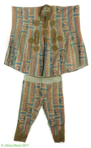 Hausa Grand Boubou Outfit With Pants Blue Stripes Nigeria African Art photo
