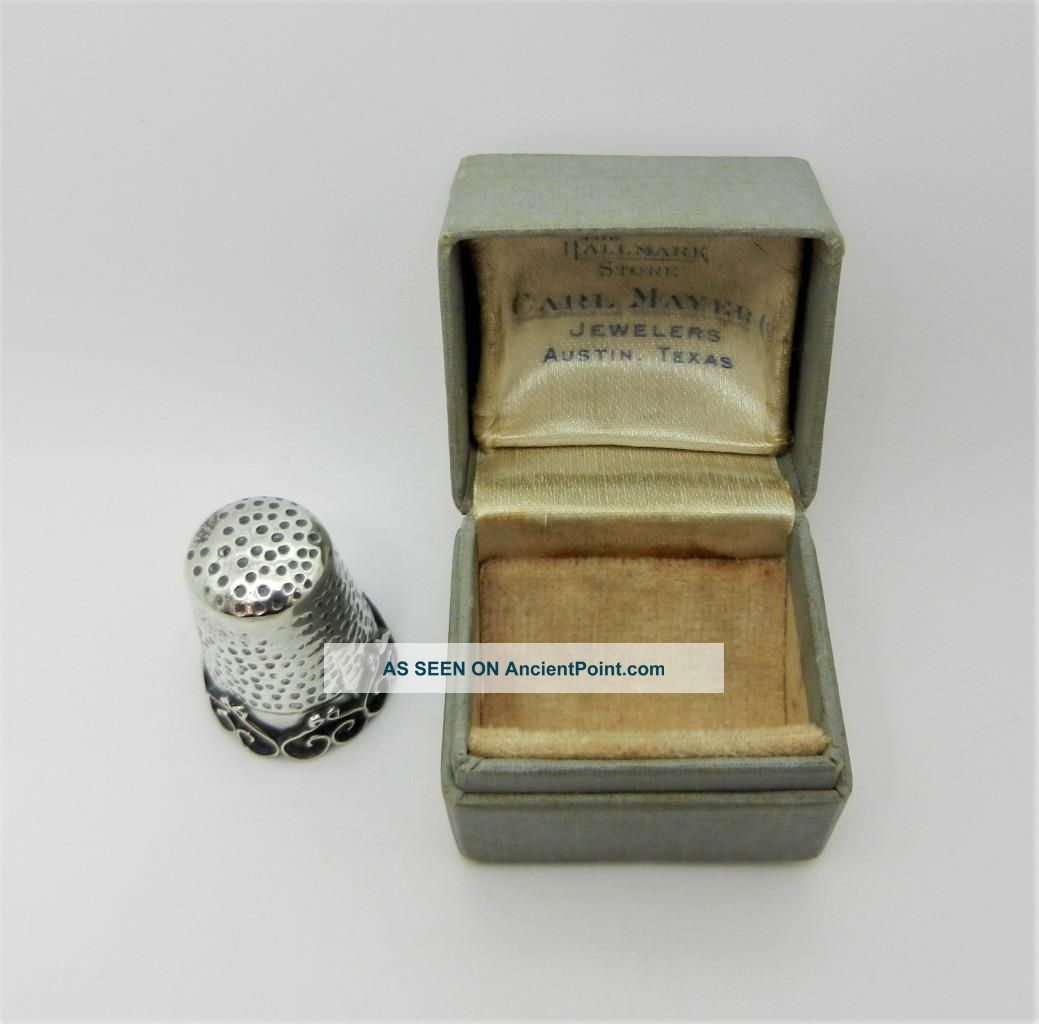 Antique Sterling Silver Thimble Size 11 - Very Rare - Lb - C1467 Thimbles photo