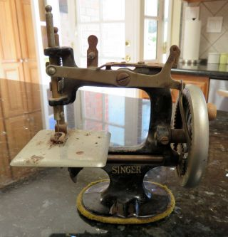 Singer Model 20 Child ' S Toy 7 - Spoke Sewing Machine Hand Crank Cast Iron photo