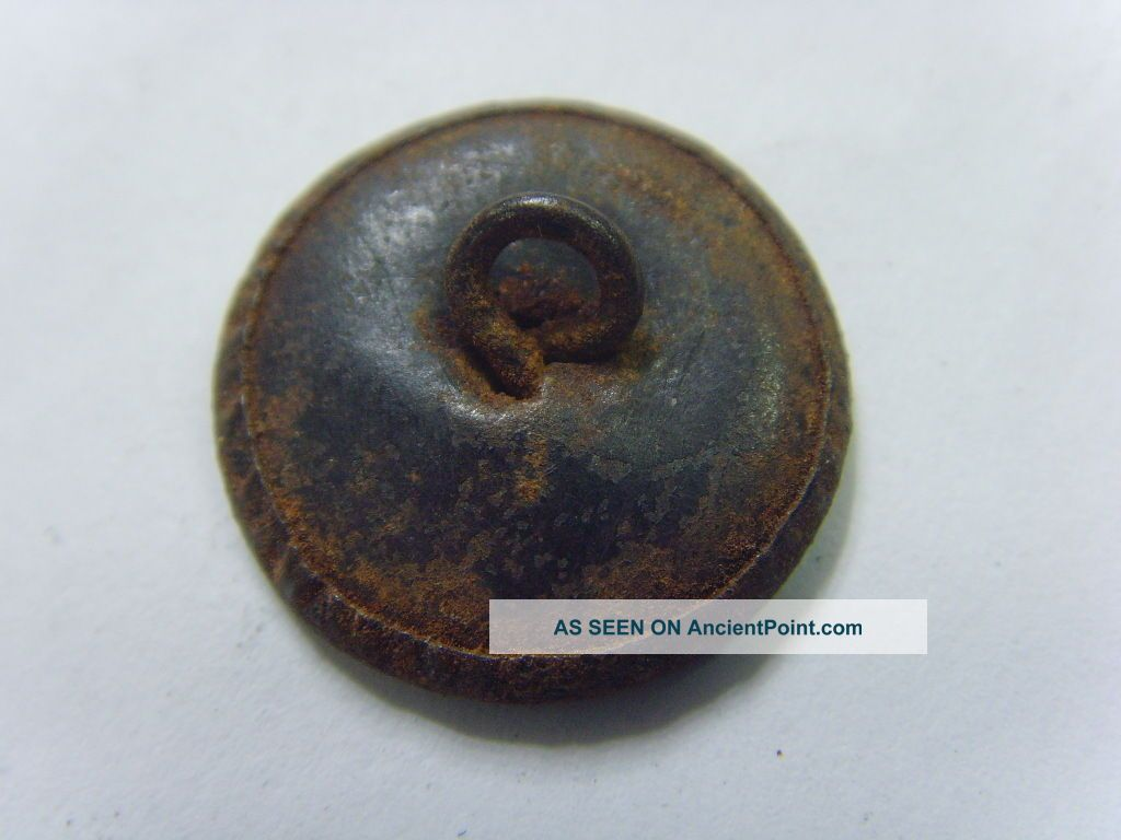 Early 1800s Very Rare Antique Metal Oriental Dragon Boat Picture Button 49878 Buttons photo