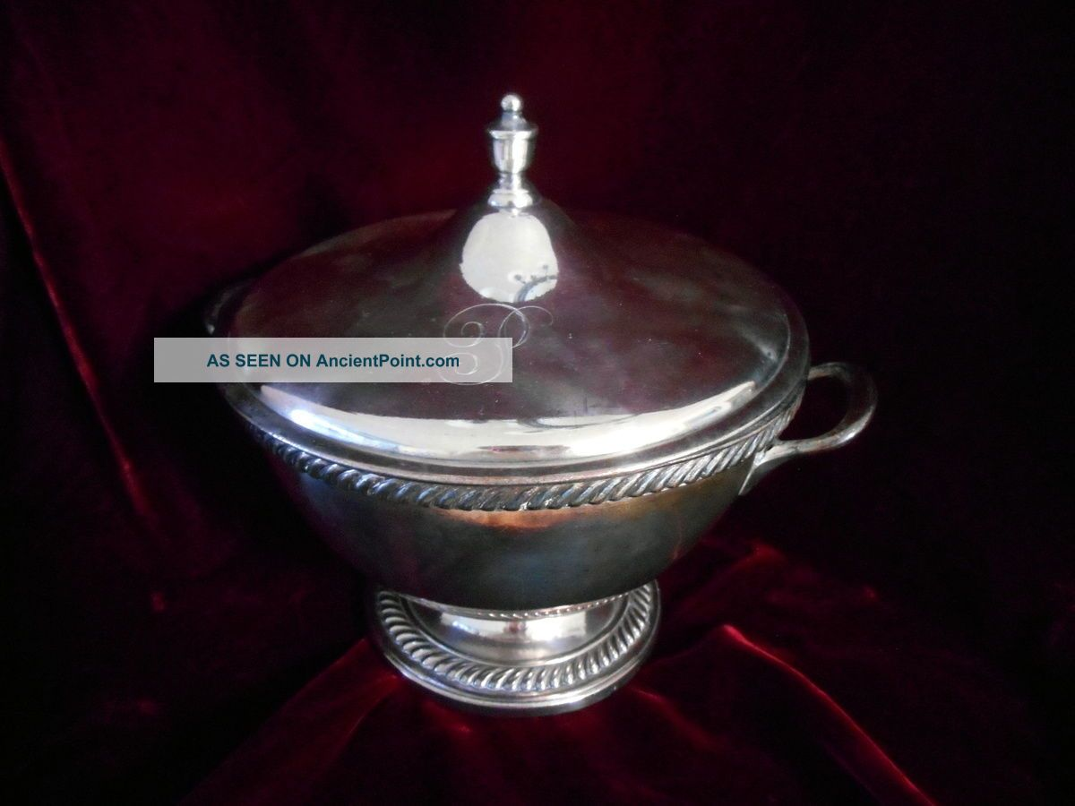 Mddletown Plate Co.  Ct Silverplate Antique Footed Covered Soup Tureen Monogram P Other Antique Silverplate photo
