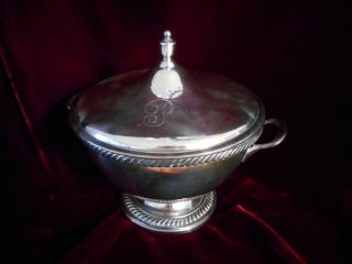 Mddletown Plate Co.  Ct Silverplate Antique Footed Covered Soup Tureen Monogram P photo