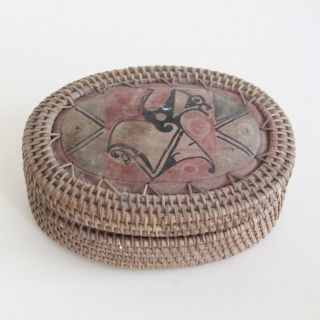 Northwest Pacific | Antique Native Indian Basket Box Haida ? (1890/1900) photo