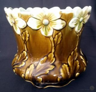 C.  1900 Antique Majolica Art Nouveau Jugendstil Wessel Bonn Jardiniere No.  967 photo