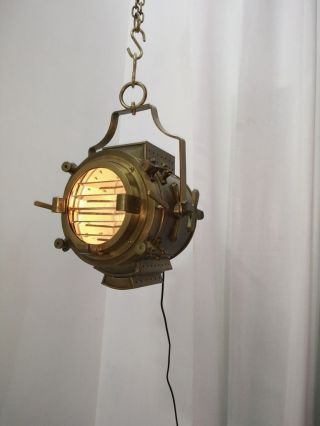 Mid Century Modern Brass Pendant Lamp Hanging Light / Wall Hanging Retro Decor photo