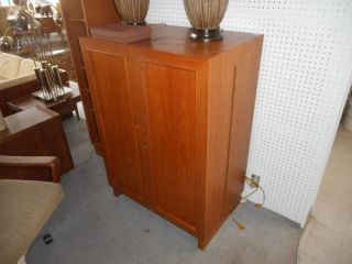 Mid Century Danish Modern Teak Desk In A Box Folding Cabinet Hide Away Office photo