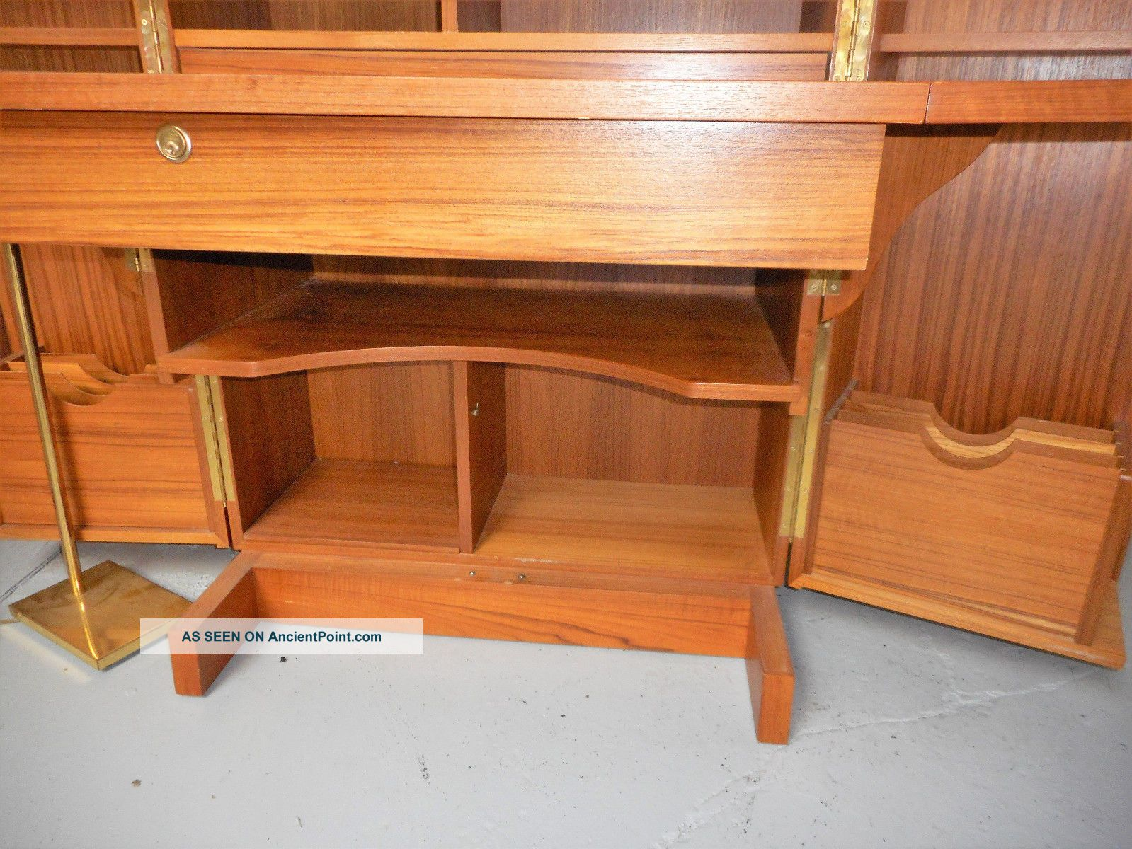 Mid Century Danish Modern Teak Desk In A Box Folding Cabinet Hide Away Office