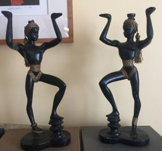 Mid Century Fenton Davis Nubian/blackamoor Figures For Table Lamp photo