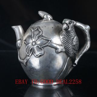 Old Silve Copper Hand Carved Flower & Bird Teapot With Qing Dynasty Mark photo