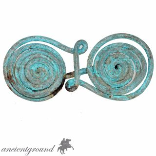 Very Rare Late Bronze Age Greek Spiral Fibula Brooch Circa 1500 - 1000 Bc photo