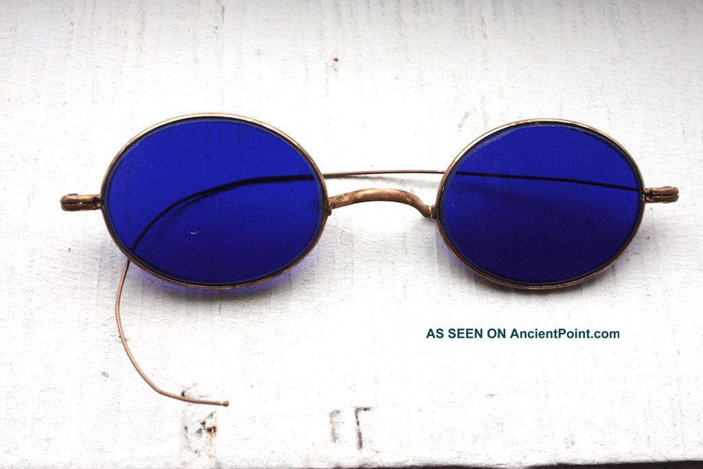 Antique 1800 ' S Victorian Civil War Era Dark Cobalt Blue Lens Medical Sunglasses Optical photo