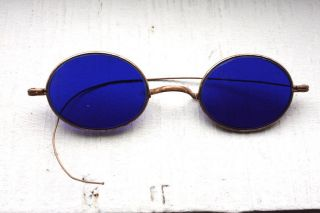 Antique 1800 ' S Victorian Civil War Era Dark Cobalt Blue Lens Medical Sunglasses photo