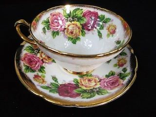 Vintage Stanley English Pink Yellow Red Cabbage Roses Heavy Gold Cup & Saucer photo