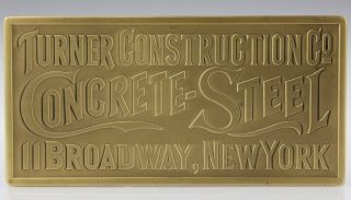 Tiffany & Co Turner Construction Concrete Steel Gilt Bronze Advertising Plaque photo