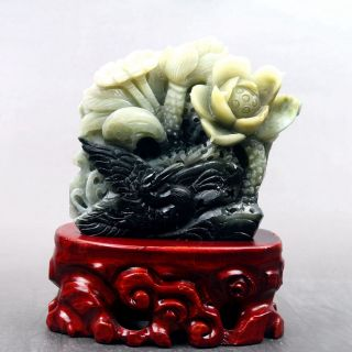 Exquisite 100 Natural Dushan Jade Hand Carved Flower Statue Y131 photo