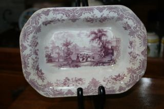 Antique Purple Transfer Ware Serving Dish,  Ladies And Trees,  Houses,  Transferwa photo