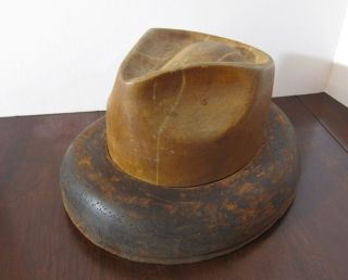 Fedora Hat Form Mold Crown & Brim Wood Men's Millinery Old Hatmaking Size 7 5/8 photo