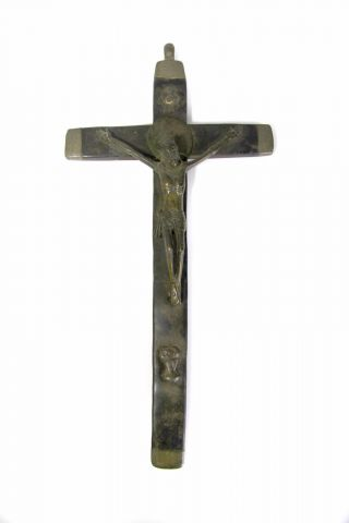 18thc Christian Crucifix Bakongo People Congo Kongo Brass Patina Tribal Catholic photo