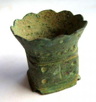 Circa.  100 - 300 A.  D British Found Roman Military Bronze Votive Miniature Bucket photo