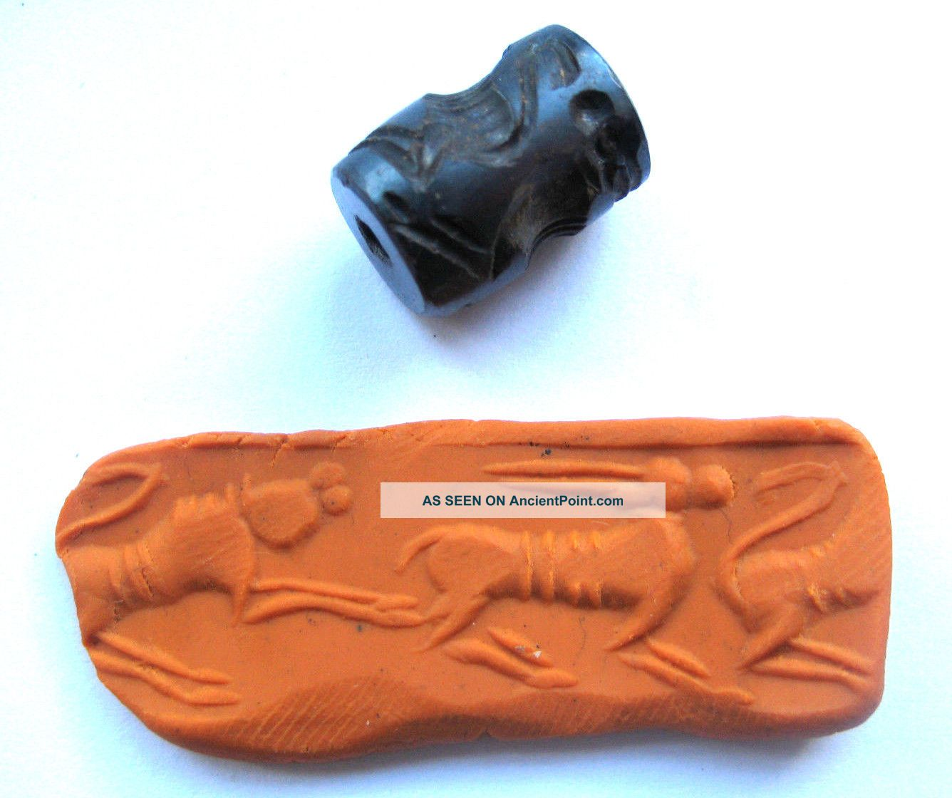 400 A.  D Sassanian Empire Zoomorphic Pirite Seal Matrix - Lion Attacking Ibex Near Eastern photo