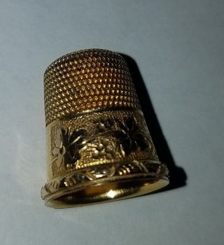 Antique Simons Bros (size 9) 10k Gold Thimble photo
