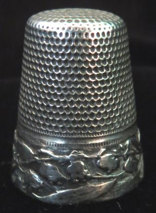 Antique Sterling Silver Lily Of The Valley Thimble 1800 ' S Victorian photo