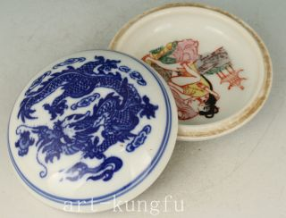 Chinese Blue And White Porcelain Hand - Painting Married Life Box Statue photo
