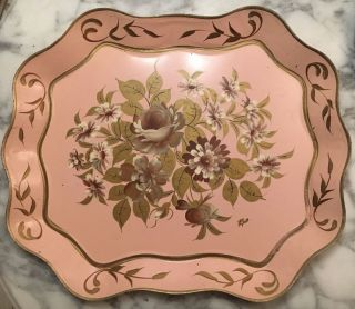 Antique Vintage Toleware Tole Ware Hand Painted Serving Tray Floral Pink Gold photo
