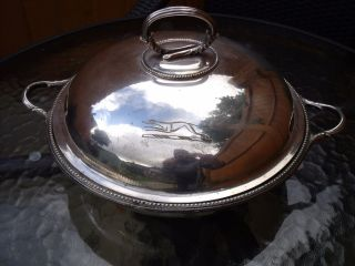 Antique Silver Plated Warming Dish Entree Dish With Engraved Greyhound photo