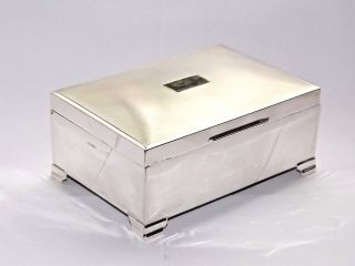 Good Quality Vintage Solid Silver Sterling Cigarette Cigar Box Birmingham 1958 photo
