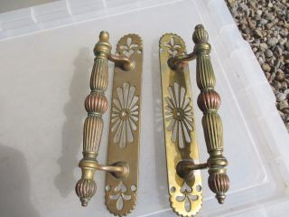 Victorian Brass Door Handles Shop Pulls Antique Gothic Reeded Pierced 1890 Old photo