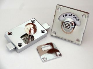 Chrome Beehive Vacant Engaged Toilet Bathroom Lock Bolt Indicator Door Knobs photo