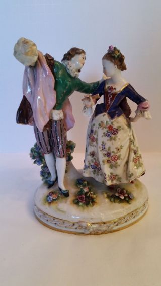 Antique Sitzendorf Porcelain Dancing Couple Figurine,  Germany photo