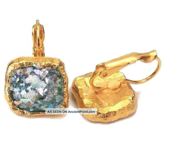 Roman Glass Fragments 200 B.C Gold P Earring Ancient Roman Style