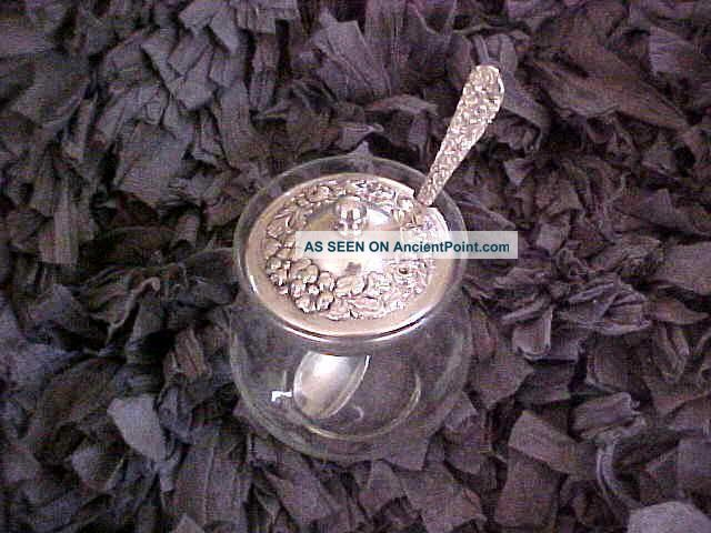 Stieff Etched Glass Sugar/condiment Bowl & Sterling Repousse Rose Cover & Spoon Creamers & Sugar Bowls photo