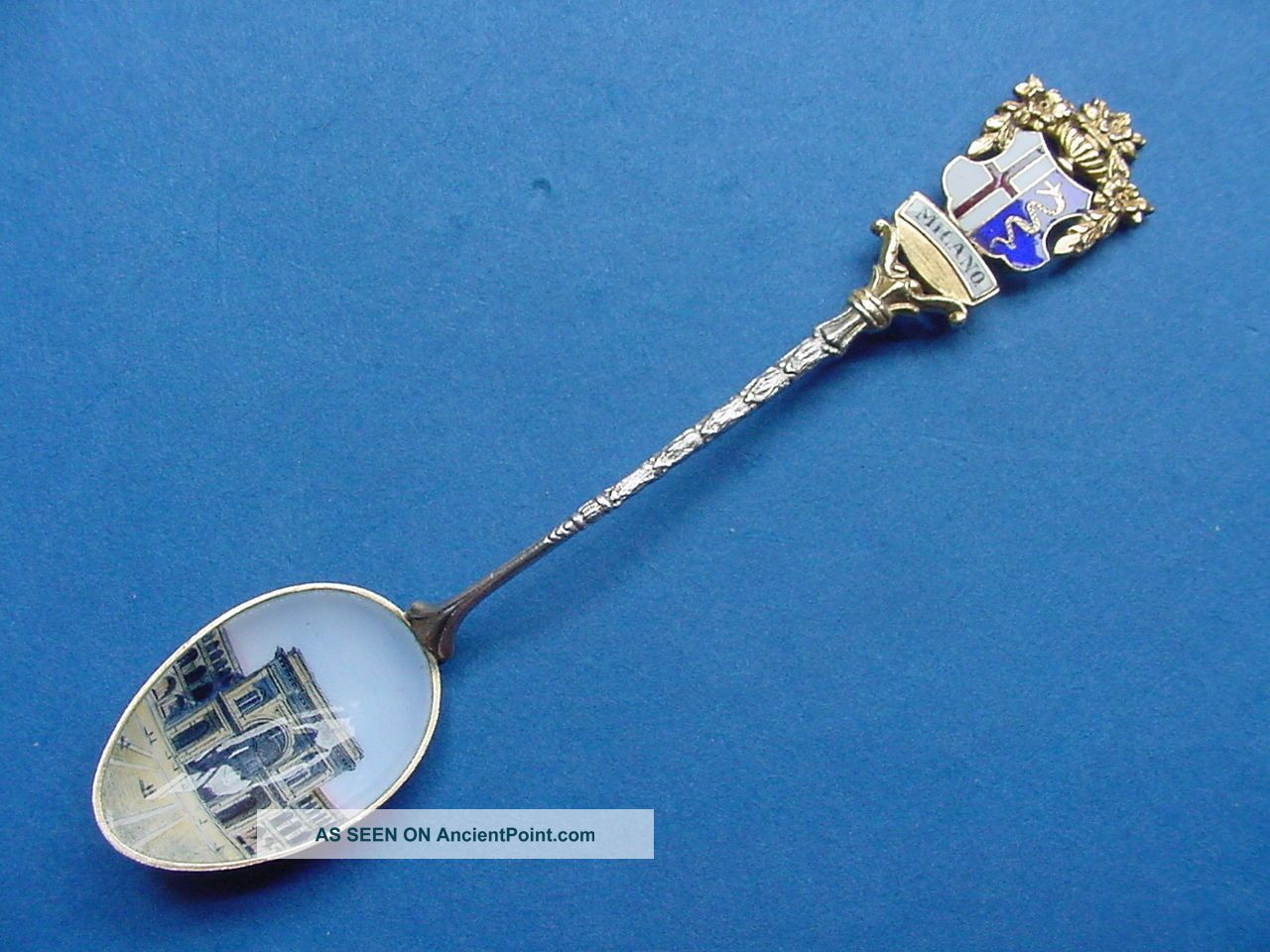 Antique Continental Silver Souvenir Spoon - Enameled