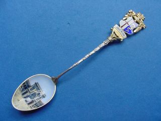 Antique Continental Silver Souvenir Spoon - Enameled