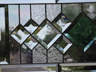 • Timeless •beveled Stained Glass Window Panel • 27 1/2
