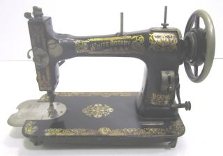 Vintage White Rotary Treadle Table Sewing Machine Patent 1911 Serial Fr2251687 photo
